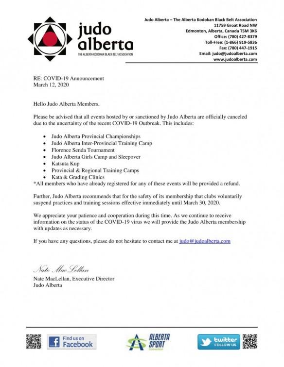 COVID-19 Announcement: For Immediate Distribution