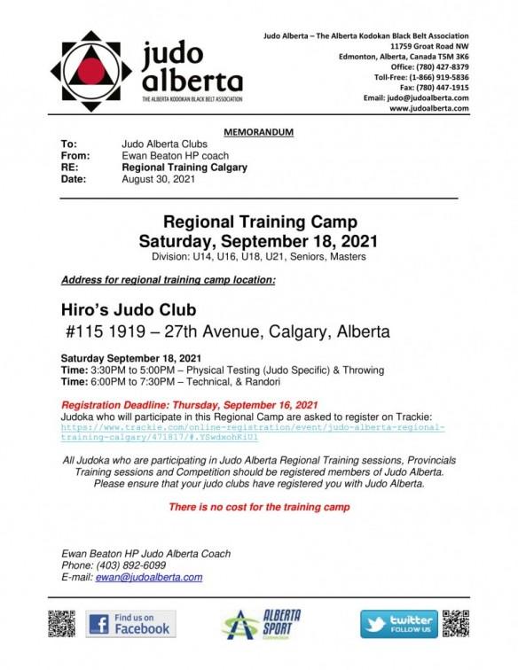 POSTPONED Regional Training Camp Calgary – Saturday, September 18, 2021