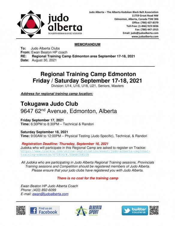 POSTPONED Regional Training Camp Edmonton Friday / Saturday, September 17-18, 2021